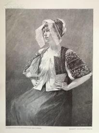 1890年木刻版画《斯洛伐克农家女孩》(slovakisches baumadchenern)---40.5*29厘米--木刻艺术欣赏(5)