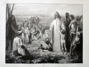 1890年木刻版画《让孩子们到我这里来》(Lasset die Kindlein zu mir kommen)---40.5*29厘米--木刻艺术欣赏(5)