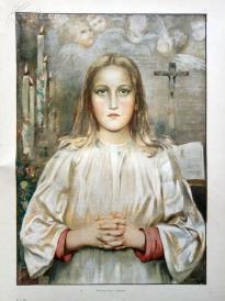 1890年胶版套色印刷《虔诚》(Andacht)--约40.5*29cm (5)