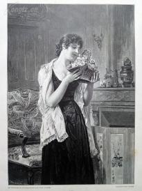 1890年木刻版画《玫瑰》(Liebesgruss)---40.5*29厘米--木刻艺术欣赏(5)