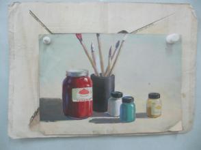 水彩、水粉画2张 水彩画-室内装饰、水粉画-静物  尺寸39/29、51/36厘米