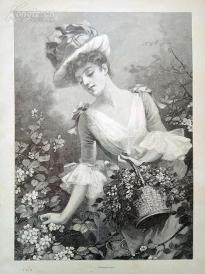 1890年木刻版画《春天的花朵》(Frühlingsblumen)---40.5*29厘米--木刻艺术欣赏(5)