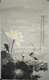 [启功] 荷花 中国当代著名书画家 中国书法家协会名誉主席 西泠印社社长 保真手绘