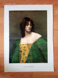 1890年套色木刻版画《特沃多拉王后》(Theodora)---58*40.5厘米--木刻艺术欣赏(9)