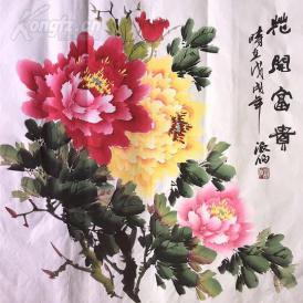 s精品国画四尺牡丹斗方 花开富贵 68x68