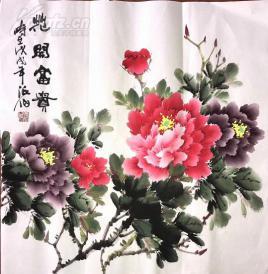 s精品国画四尺牡丹斗方 花开富贵 68x68 (2)