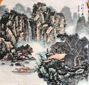 s四尺国画山水斗方 江村小景 68x68