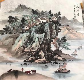 s四尺国画山水斗方 一帆风顺 68x68 (2)