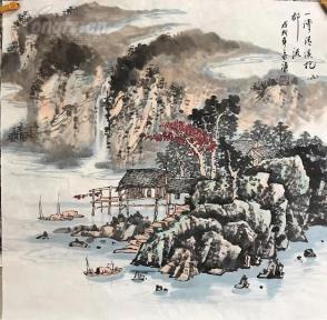 s四尺国画山水斗方 山村小景 68x68 (2)