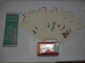 杨柳青画书签(原装护袋、一套10枚,边饰凹凸感),好看!!