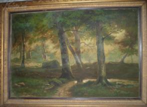 布面 老风景 油画 带 高档 精装 木框