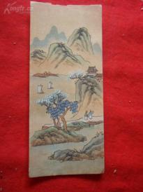 民国手绘山水绢画3张合拍,长18cm8cm,近全品如图。.