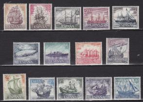 『西班牙邮票』1964年 无敌战舰 帆船 雕刻版 14全