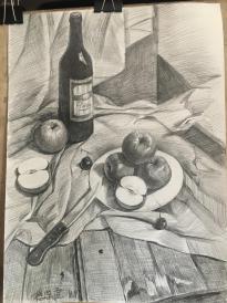 《木板上的苹果》