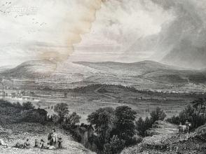 1849年钢版画《从布莱克罗德看利文顿山》(rivington pike ,from blackrod)--27*21厘米