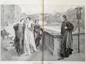 1890年木刻版画《但丁与比阿特丽丝的相遇》(Dante und  Beatrice)---58*40.5厘米--木刻艺术欣赏(20)