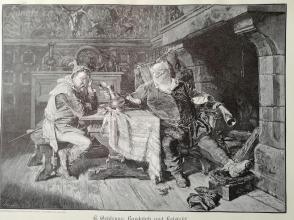 1890年木刻版画《巴道夫和法斯塔夫》(bardolph und falstaff )---40.5*29厘米--木刻艺术欣赏(20)