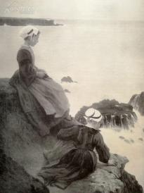 1890年平版印刷画《悬崖边的女孩》(weinende klippen)---40.5*29厘米--(21)