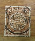 清代蟠龙邮票面值肆分销CANTON广州1901年12月17日小圆戳