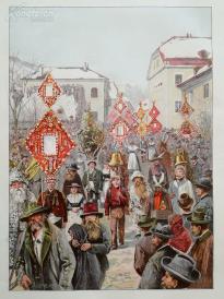 1890年彩色平版印刷画《奥地利蓬高地区的一个奇怪节日,在一月》(berchtenlaufen im pongau)---40.5*29厘米--木刻艺术欣赏(21)