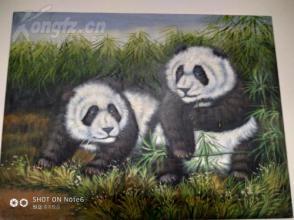 精品   动物油画   熊猫  42CM*30CM  已装内框
