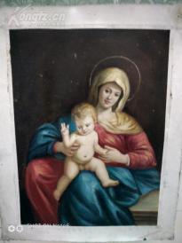 精品   西欧古典人物油画   《圣母像》  42CM*30CM