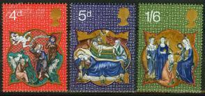 『英国邮票』 1970年 圣诞节 天使和牧羊人 东方三博士等 3全