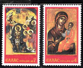 『希腊邮票』1978年 圣诞 基督的洗礼、圣母子 2全新