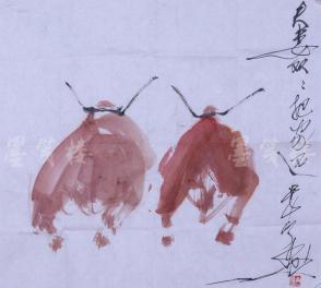 唐双宁 水墨作品《夫妻双双把家还》一幅(纸本软片,约5.0平尺,钤印:唐双宁)  HXTX104042
