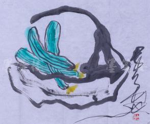 """唐双宁 水墨画作品""""菜篮子""""一幅(纸本软片,约3.3平尺,钤印:唐双宁)HXTX104045"""