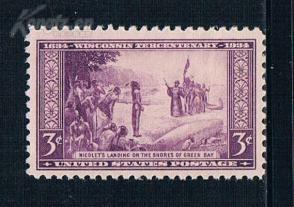 『美国邮票』1934年 威斯康星州300年探险家让尼古拉 1全新