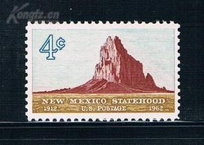 『美国邮票』1962年 新墨西哥州建州50年希普罗克山 1全新