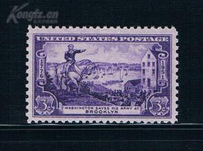『美国邮票』1951年 布鲁克林战役175年 华盛顿 雕刻版 1全新