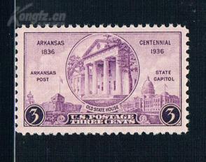 『美国邮票』1936年 阿肯色州百年建筑1全新 雕刻版