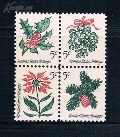 『美国邮票』1964年 圣诞节花卉 4全新