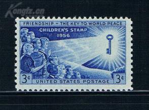 『美国邮票』1956年 世界儿童友好世界和平  雕刻版 1全新