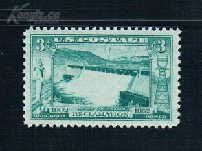『美国邮票』1952年 西部河流开发合作50周年 雕刻版 1全新