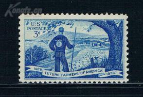 『美国邮票』1953年 未来青年农业组织25周年  雕刻版 1全新