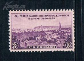 『美国邮票』1935年 加利福尼亚太平洋博览会风光 1全新 雕刻版