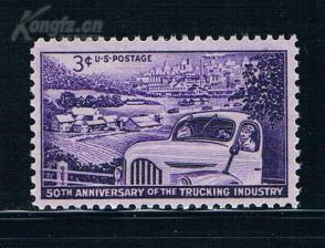 『美国邮票』1953年 卡车工业50年汽车  雕刻版 1全新
