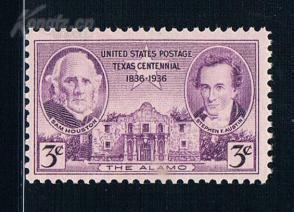 『美国邮票』1936年 德克萨斯州百年创建者休斯顿1全新 雕刻版