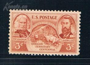 『美国邮票』1948年 俄勒冈领土百年猪 雕刻版 1全新