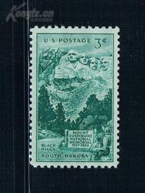 『美国邮票』1952年 拉什莫尔山总统纪念碑落成25周  雕刻版 1全新