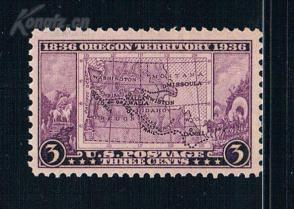 『美国邮票』1936年 俄勒冈领土开放百年地图1全新