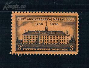 『美国邮票』1956年 普林斯顿大学拿骚楼200年  雕刻版 1全新