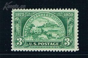 『美国邮票』1950年 美国银行家协会75周  雕刻版 1全新