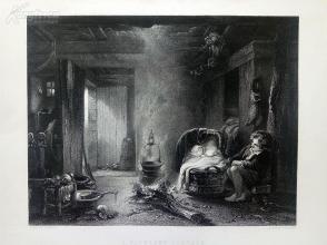 1854年钢版画《高原上的小屋》(A HIGHLAND COTTAGE)---出自约翰·亚瑟·弗雷泽作品,《弗农画廊精选》,34*25厘米--精美,漂亮,高质量