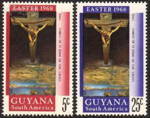 『圭亚那邮票』 1968年 达利作品- 圣约翰十字架的基督 2全
