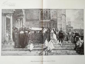 1890年木刻版画《朱丽叶的葬礼》(Begr?bniss Julias in Verona)---58*40.5厘米--木刻艺术欣赏(8)