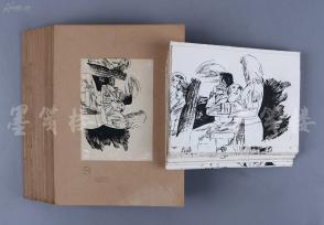 佚名 手绘连环画原稿一组约四十七幅 附出版样稿(尺寸:15*19.7cm)  HXTX104247